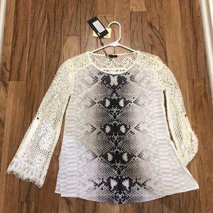 Snake print lace blouse